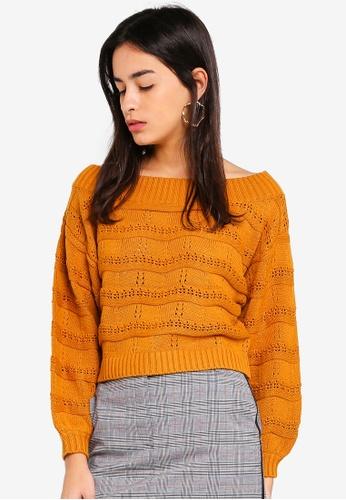 de0c6dcb6792 Miss Selfridge brown Ochre Pointelle Stitch Bardot Knitted Jumper  9267AAA4E1D35CGS 1