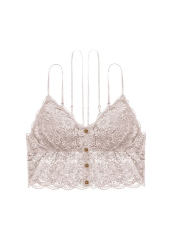 QuestChic 白色 and 米褐色 Barsha Lace Padded Crop Camisole FA52DUSB8CBC54GS_1