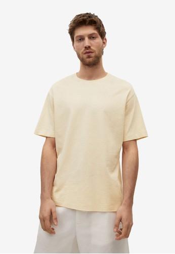 MANGO Man yellow Cotton Linen Regular-Fit T-Shirt 85529AAC836086GS_1
