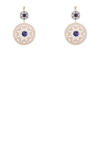 zalora 評價寶石圓形雕花牌飾耳環, 飾品配件, 耳環