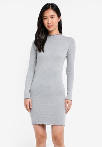 TOPSHOP grey Lettuce Edge Bodycon Dress TO412AA0SIWGMY_1