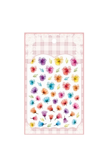Pretty2u multi Watercolor Flower Ultra Thin Nail Sticker 53210BEF239162GS_1