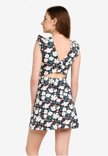 UniqTee white Floral Mini Dress with Open Back D5CABAA44649A0GS_1