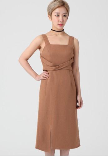 韓流時尚 不平esprit 香港衡編織單肩禮服 F4129, 服飾, 及膝洋裝