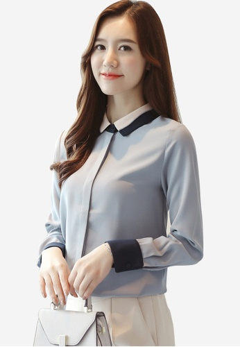 Halo blue Two Tone Neck Blouses 738D2AAA15EF08GS_1