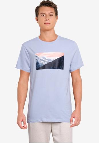 GAP blue Mountain Photoreal Print Tee 9F82AAA07C161DGS_1