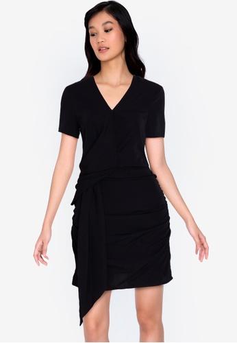 ZALORA BASICS black Short Sleeve Drape Front Dress 54CC8AA1AADDC8GS_1