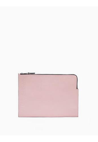 Calvin Klein pink Logo Embossed Medium Pouch C7518AC96868F6GS_1