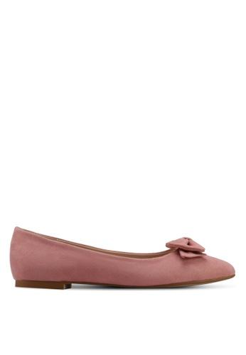 Velvet pink Bow Detail Ballerina 30AF2SHA62482CGS_1