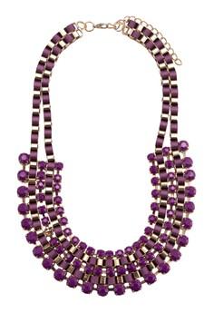 Acrylic Gem With Gold & Ribbon Bib Necklace
