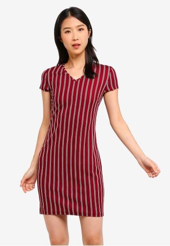 ZALORA BASICS red and multi Basic V-Neck Sheath Dress 473C5AAA7C0AACGS_1
