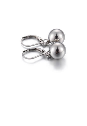 Glamorousky silver Simple and Fashion Geometric Round Bead 316L Stainless Steel Earrings 4FF20AC84F2950GS_1