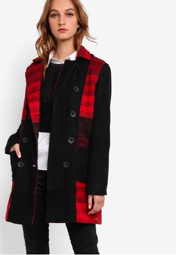 Leszalora 台灣seps 雙排鈕撞色長版外套, 服飾, 服飾