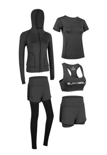 Sunnydaysweety grey Sports Bra, Top, Tights, Shorts and Jacket Set A081027BK D871DAA15BD457GS_1