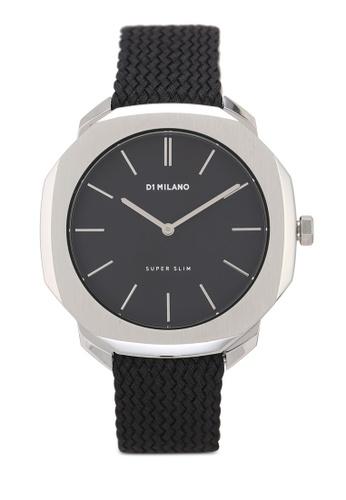 D1 Milano black and silver Super Slim Silver Case Black Perlon Strap Watch 82F98AC352E2C3GS_1
