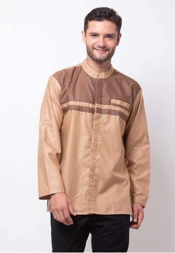 Allev brown Mahdi Long Shirt - Coklat Muda 3AF1DAA8361A01GS_1