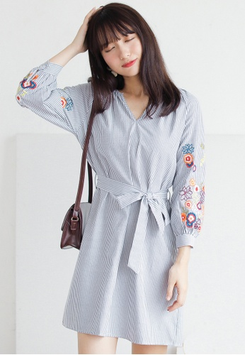 Shopsfashion grey and white Boho Embroidery Fit and Flare Dress in Grey Strip SH656AA0GS4PSG_1
