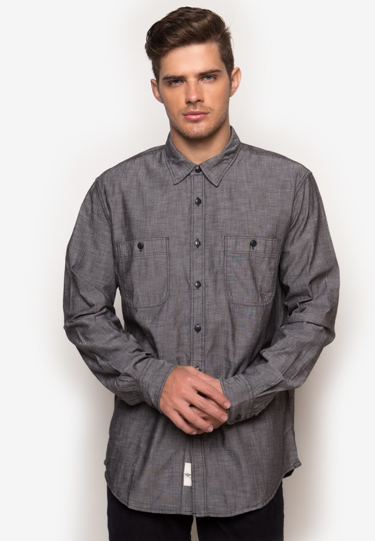 LS Chambray Shirt Fitted Shirt