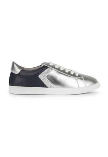 MAUD FRIZON silver Calf Leather/ Metallic Calf Sneaker With Contrast Trimming Detail C7FB7SHF325296GS_1