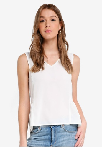 ZALORA BASICS white V-Neck Peplum Top DEBD8AA5C70F68GS_1