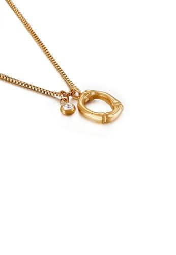 Glamorousky 白色 時尚簡約鍍金色英文字母O 316L鋼吊墜配鋯石及項鏈 6B25FACA7052DDGS_1