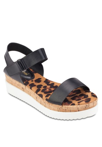 印花木製厚esprit衣服目錄底涼鞋, 女鞋, 楔形涼鞋