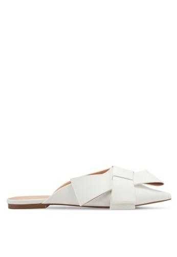 Something Borrowed white Bow Slip-on Flats BF08DZZCD1A6ADGS_1