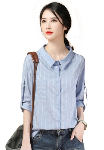 A-IN GIRLS white and blue Fashion Striped Lapel Shirt F95C3AA1F52D2DGS_1