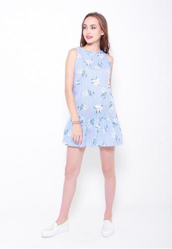 Sophialuv blue Summer Tropics Drop Hem Dress in Light Blue C1EE4AA0A7B052GS_1