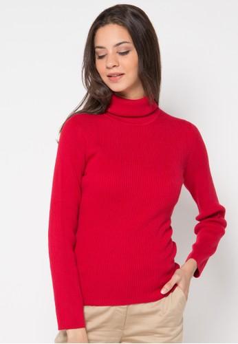 Noir Sur Blanc red Ladies Rollneck Long Sleeve NO321AA31KYQID_1