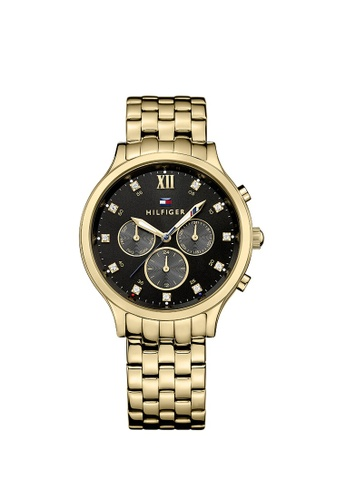 a13d623f tommy black and gold TOMMY HILFIGER Amelia Multi-Function Black Dial Gold-tone  Ladies