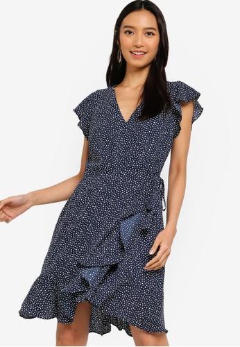 Banana Republic 藍色 滿版印花荷葉飾綁帶短洋裝 8E6BCAA631DC6FGS_1