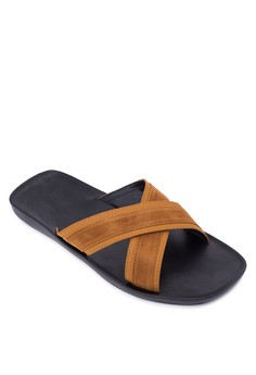 Charles Crossover Leather Suede Sandals