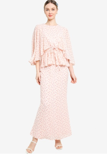 Lubna pink Flare Sleeve With Drawstring Kurung D097AAAA61F57AGS_1