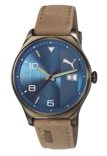 Puma brown and blue Puma Retro Blue/Brown Leather Watch PU440AC77CVYSG_1