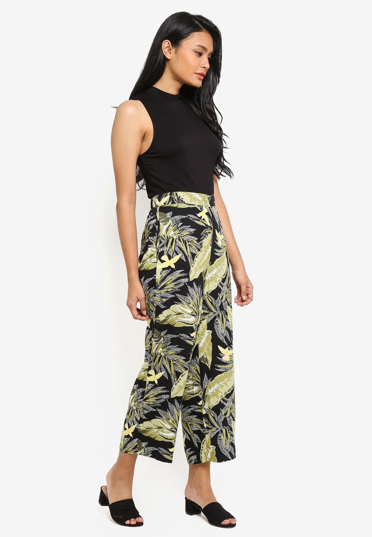 Culotte Pattern Black WAREHOUSE Pants Print Palm xfXfUnE