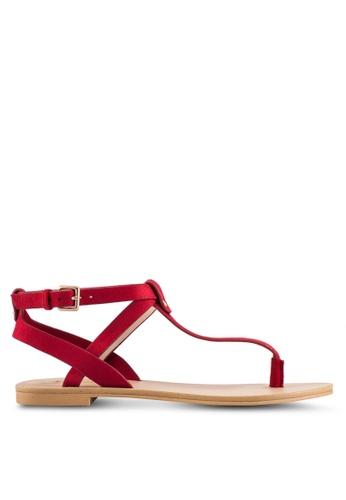 ZALORA red T-Strap Microfiber Sandals 74541SH467DAD3GS_1