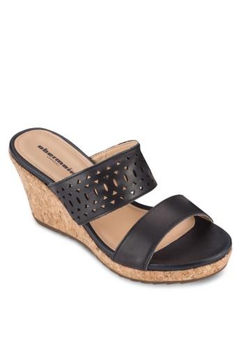 Elsa IV 沖孔雕花楔型跟涼鞋, 女鞋, zalora 手錶 評價楔形涼鞋
