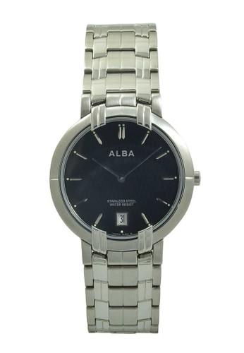 Alba silver ALBA Jam Tangan Pria - Silver Black - Stainless Steel - AVKA87 AL383AC40XRRID_1