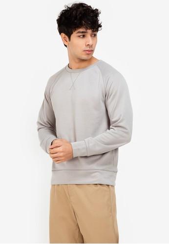 ZALORA BASICS grey Crew Neck Sweater E9DA8AA0C01440GS_1