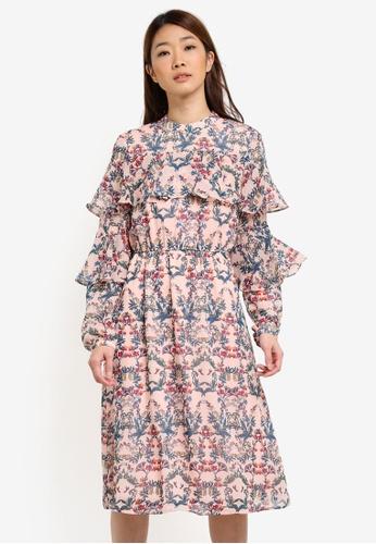 ESPRIT pink Light Woven Midi Dress ES374AA0S2QNMY_1
