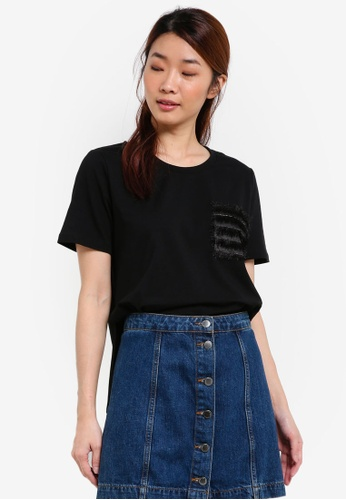 Something Borrowed black Contrast Pocket Step Hem Tee 22DF8AAC6FA3AFGS_1