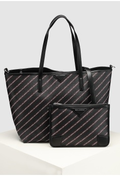 KARL LAGERFELD black Stripe Logo Shopper Bag 79C89AC5BE7673GS 1 36748a4eca248