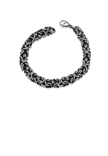 Glamorousky silver Fashion Simple Ancient Mayan Textured 316L Stainless Steel Bracelet CC4BEAC89D5BAAGS_1
