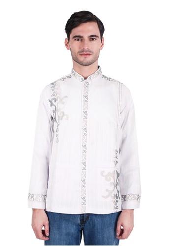LGS white LGS - Regular Fit - Baju koko - Lengan Panjang - Bordir Samping -