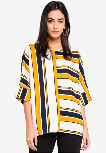 Wallis multi Ochre Stripe Top 01966AADC28F9AGS_1