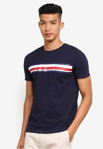 ESPRIT 海軍藍色 短袖條紋T恤 BAEC1AA70C0D34GS_1
