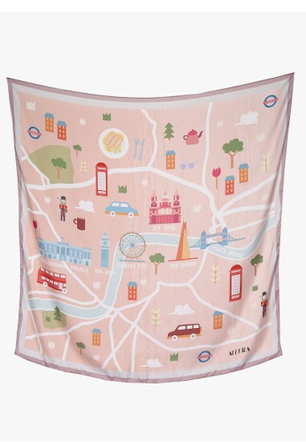 "Modest-Runway Inc. orange and multi and beige ALLURA ""The British Charm"" London Maps SILK Scarf/Hijab A1663AA3ADA4F5GS_1"
