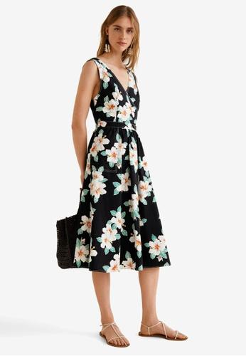Mango black Floral Wrap Neckline Dress 4A6D9AA6BFC653GS_1