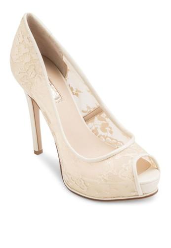 Hoesprit 請人noran 露趾蕾絲高跟鞋, 女鞋, 鞋
